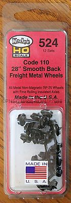 "HO Scale - KADEE 524 Code 110 - 28"" Smooth Back Freight Metal Wheels 12-Sets"