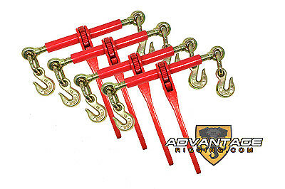 "4 Ratchet Load Lever Binders 5/16"" - 3/8"" Boomer Chain Equipment Tiedown Hauling"