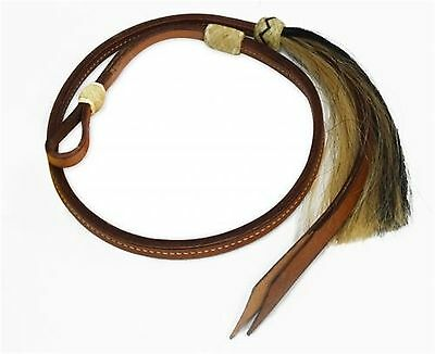 Showman 4 ft Leather Over & Under Whip with Horse Hair Tassel