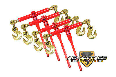 "4 Ratchet Load Lever Binders 3/8"" - 1/2"" Boomer Chain Equipment Tiedown Hauling"