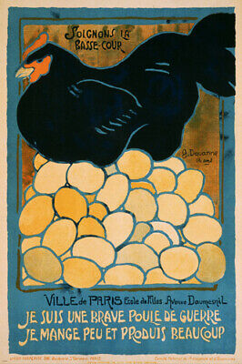 VINTAGE WAR POSTER chickens of paris 24X36 PAINTING french propaganda