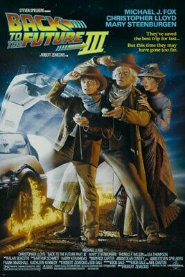 BACK to the FUTURE III vintage movie poster FOX, LLOYD & STEENBURGEN 24X36