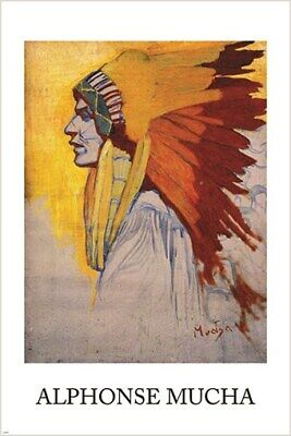 1908 SIOUX Indian American Painter Alphonse Mucha 16X20 Vintage Poster FREE S//H