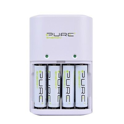 Pure Energy Alkaline/Ni-MH Battery Charger w/4 AA 1.5V 2000mAh Rechargeable