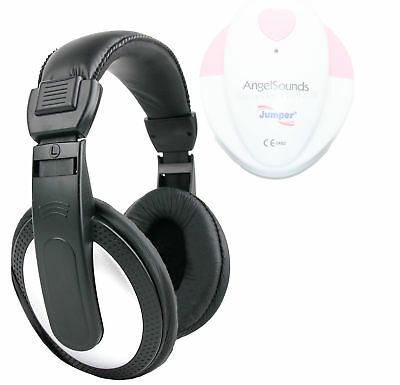 Stereo Black/Silver Headphones for AngelSounds Fetal Doppler Baby Heart Monitor