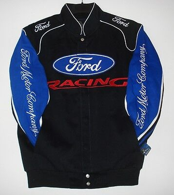 Size 2XL Authentic Ford Racing Embroidered Cotton Jacket JH Design Black