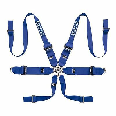 """Sparco 6 Point Pro Racer Ultra FHR Blue 2""""/3"""" HANS FIA Approved Seat Harness"""