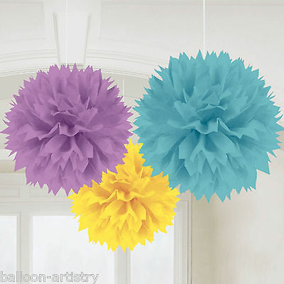 3 Bright WELCOME Baby Shower Party Hanging Fluffy Paper Ball Decorations
