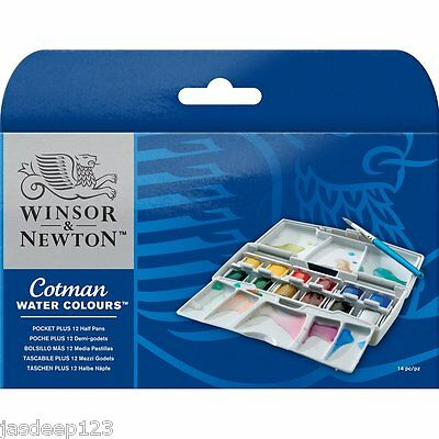 Winsor and Newton Cotman Watercolour Set Pocket Box Plus 12 Half Pans 14 pc item