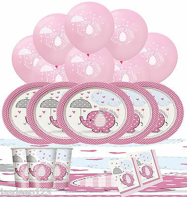 Baby Shower Pink Umbrellaphants Party Pack Kit Decorations Girl Tableware Animal