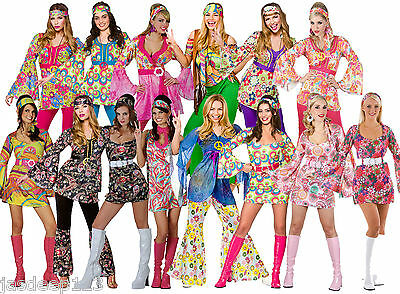 Womens Ladies Hippie Hippy Fancy Dress Costume Outfit 60s 70s Retro Groovy Flare