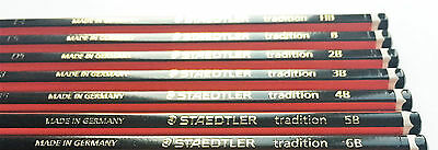 12 Pack Staedtler Tradition B 2B, 3B, 4B, 5B, 6B, Hb Pencils School Drawing Art