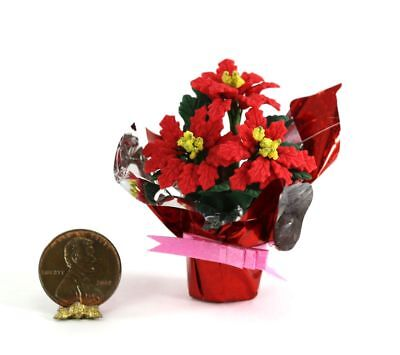 Dollhouse Miniature 1:12 Scale Poinsettia Wrapped in Foil by Bright deLights