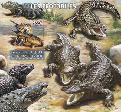 Central Africa - 2015 Crocodiles on Stamps - Souvenir Sheet - CA15623b