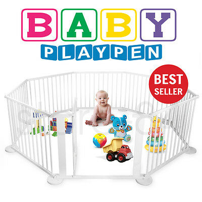 Baby Playpen for Kids & Toddler Play Pen - LARGE - 8 Wooden Panels - WHITE