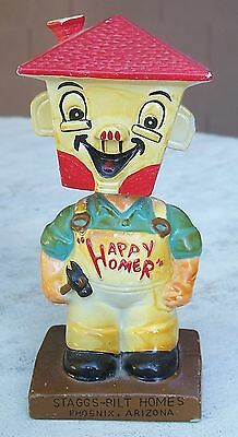 Vintage HAPPY HOMER Advertising Nodder Bobblehead Staggs-Bilt Homes Phoenix AZ