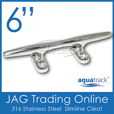 "6"" 155mm 316 STAINLESS STEEL MARINE GRADE SLIMLINE BAR CLEAT - Boat/Marine/Yacht"