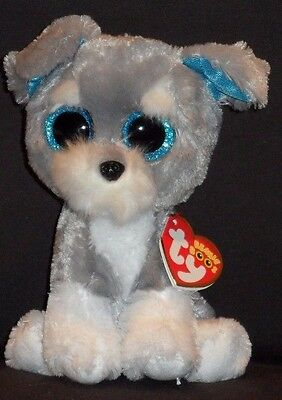 """TY BEANIE BOOS - WHISKERS the 6"""" SCHNAUZER - MINT with MINT TAGS"""