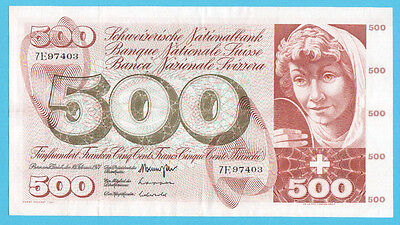 SWITZERLAND  500  FRANCS  1971   XF+   P 51i