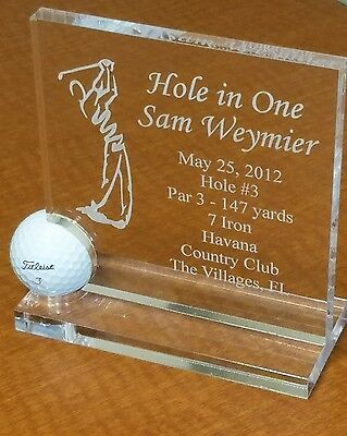 Hole in One Golf Ball Trophy - Award - Plaque - Crystal Clear - 2016