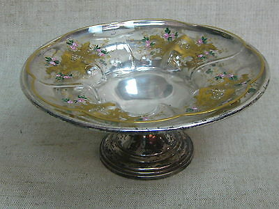 Vtg Sterling Silver Compote w/ Hand Painted Moser Glass Gold Gilded Insert