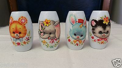 """4 Painted White Wooden Wood Easter Beads 2.5"""" Rabbit Duck Poodle Chick Bear Cat"""