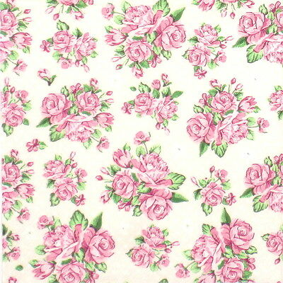4x Paper Napkins for Decoupage Decopatch Craft Romantic small pink Roses