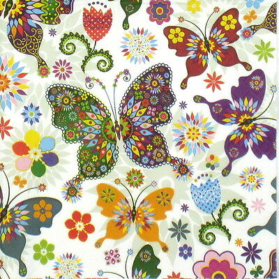 4x Single Table Party Paper Napkins for Decoupage Decopatch Colorful Butterfly