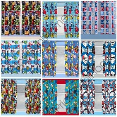 "Boys Bedroom Character Curtains Marvel,star Wars, Paw Patrol + More In 54"" & 72"""