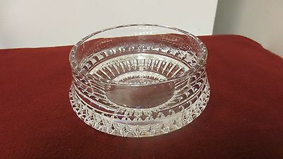 "Older Cut Glass Crystal Clear Rose Bowl - 6"" squat - HEAVY"