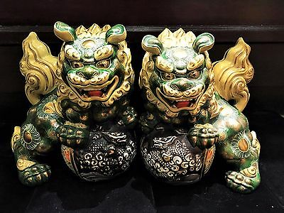 Pair of Antique Japanese Shi Statue Okimono Foo Dog Lion Stamped w/COA App.$10K