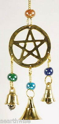 3 BELL PENTACLE &  GLASS BEADS WINDCHIME - Wicca Pagan Witch Goth PENTAGRAM