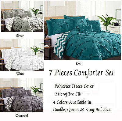 Reversible 7 Piece Pinch Pleat Comforter Set Coverlet Double Queen King Size Bed
