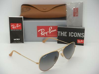 Ray-Ban Aviator Polarized RB 3025 001/78 58mm Gold Frame Blue Gradient Polarized