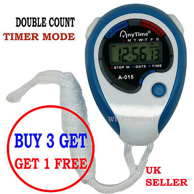 Blue Digital Handheld Sports Stopwatch Stop Watch Time Clock Alarm Counter Timer