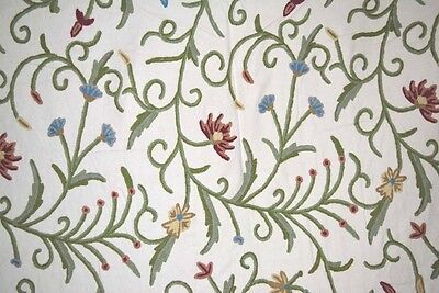 "Cotton Crewel Embroidered Fabric Jacobean, Multicolor 52""x 1 Yard"
