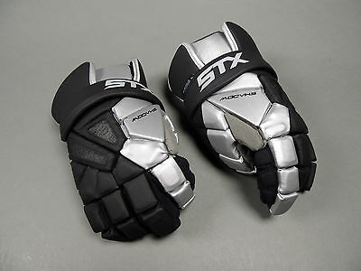 NEW STX Lacrosse Shadow Gloves Black with Silver Lax Glove Retails for $109.99