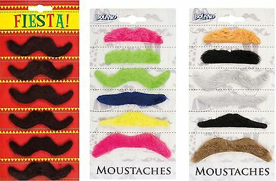 Set Of 6 X Fake Moustache Tash Facial Hair Assorted Stag Hen Night Fancy Dress