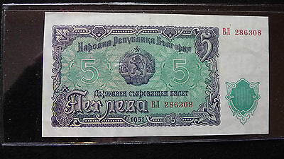 Bulgaria 5 Levia Note In Sleeve Unc  A-13-16