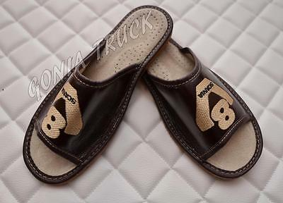 ~ 100% Leather ~ Mens Slippers For Drivers ~ Scania V8 ~