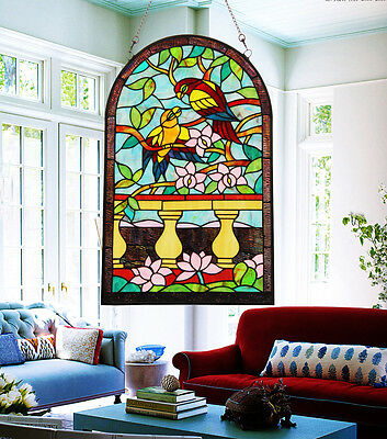 Makenier Vintage Tiffany Style Parrot And Flower Stained Art Glass Window Panel
