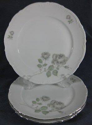 Mitterteich Mystic Rose Lot of 3 Dinner Plates Bavaria Germany Platinum Trim