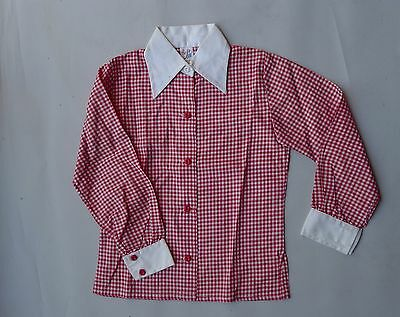 Vintage retro true 60s unused 28 age 6  girls boys red check cotton shirt NOS