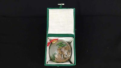Chinese Glass Ball Reverse Painted Holiday Ornament Endangered Animals Signed