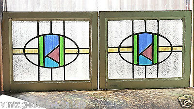 Pair of Antique Stained Glass Windows Five Color Craftsman Style         (2950)