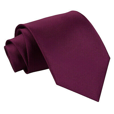 DQT Satin Plain Solid Plum Formal Wedding Mens Extra Long Tie