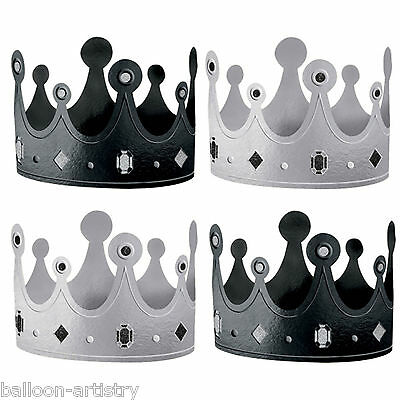 12 Classic Black & White Happy Birthday Party Silver Shimmer Paper Crowns Hats