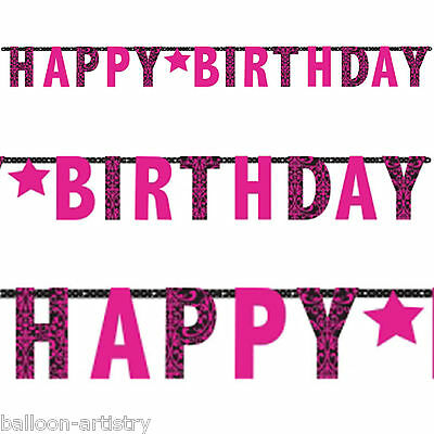 3.3m Stylish Black & Pink Happy Birthday Party Giant Letter Banner Decoration