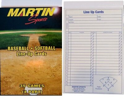 "New Martin Baseball Softball 35 Game, 4 Part Carbon Copy Line Up Cards 5.5""x8.5"""