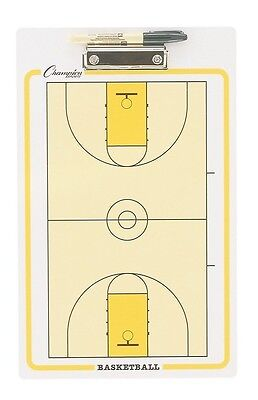 """NEW Champion Dry Erase 2 Sided Basketball Coaches Play Board & Marker 11""""x16"""""""